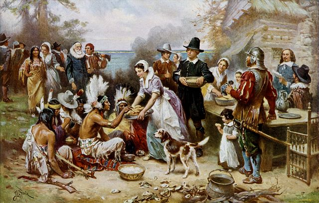 The First Thanksgiving 1621 by Jean Leon Gerome Ferris (1899)