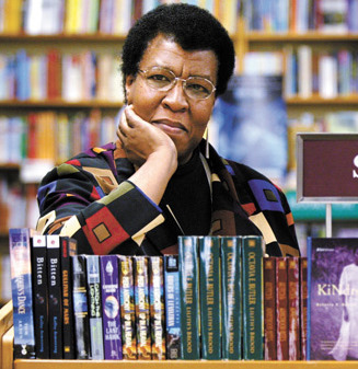 Octavia Butler with books