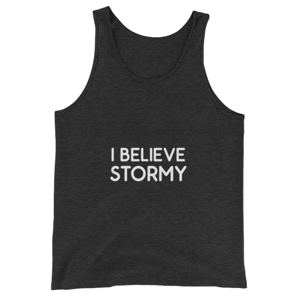 I Believe Stormy Unisex Tank in Charcoal Black