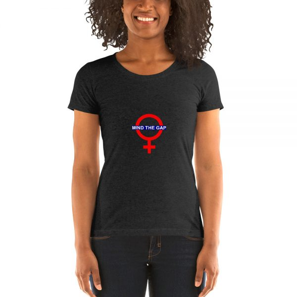 Mind The Gap Womens Tshirt in Charcoal Black